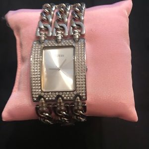Pre-owned Guess Glitz chain link watch